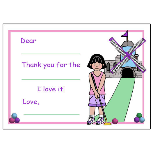 Mini Golf Fill in the Blank Thank You Notes (Design 2) - Girl