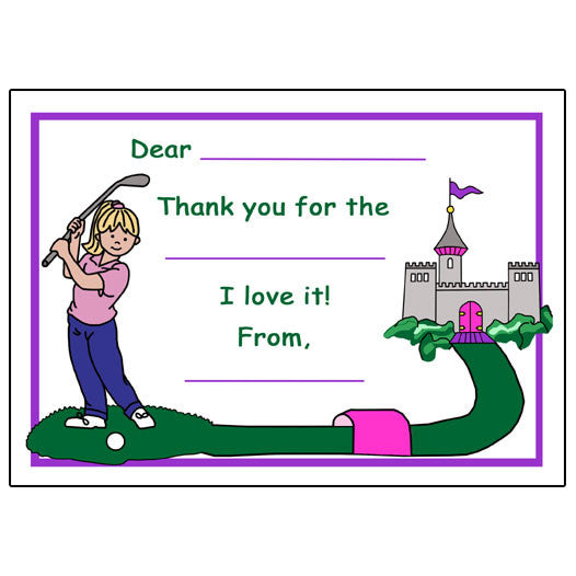 Mini Golf Fill in the Blank Thank You Notes - Girl