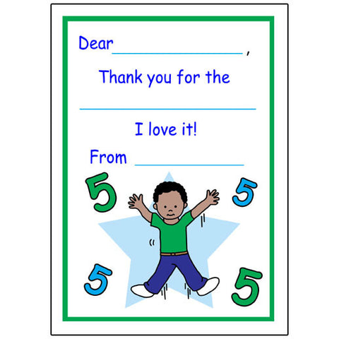 Number Fill in the Blank Thank You Notes - Boy