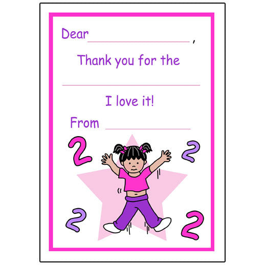 Number Fill in the Blank Thank You Notes - Girl