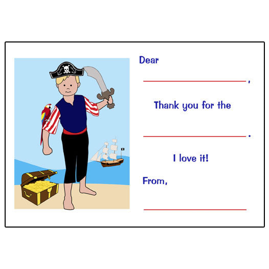 Pirate Fill in the Blank Thank You Notes
