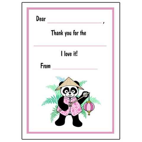 Asian Lantern Panda Fill in the Blank Thank You Notes