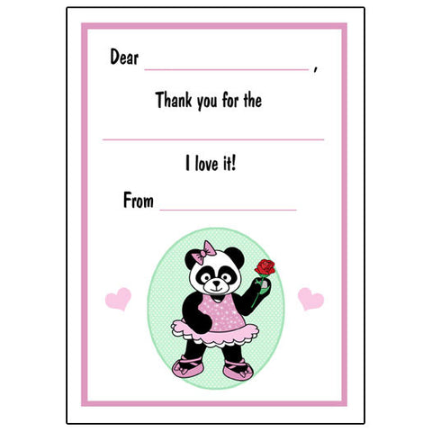 Ballet or Dance Fill in the Blank Thank You Notes - Panda Ballerina