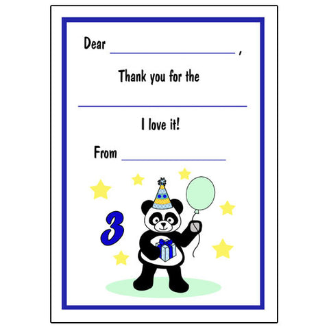 Birthday Panda Fill in the Blank Thank You Notes-Boy