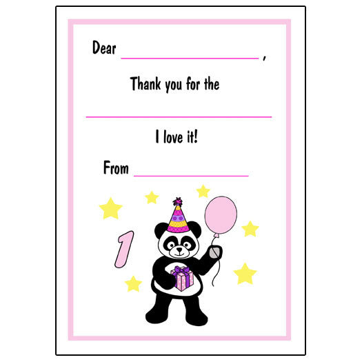 Birthday Panda Fill in the Blank Thank You Notes-Girl