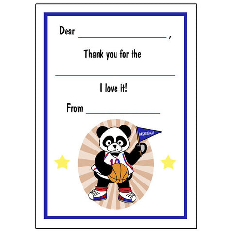 Basketball Panda  Fill in the Blank Thank You Notes - Boy