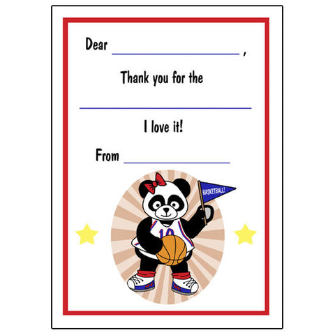 Basketball Panda Fill in the Blank Thank You Notes - Girl