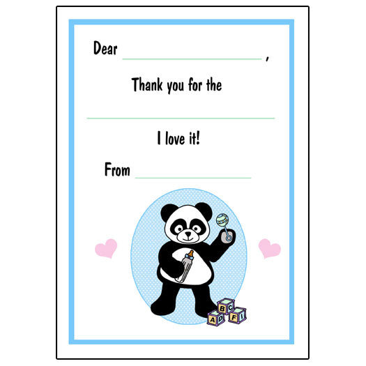 Baby Panda Fill in the Blank Thank You Notes - Boy