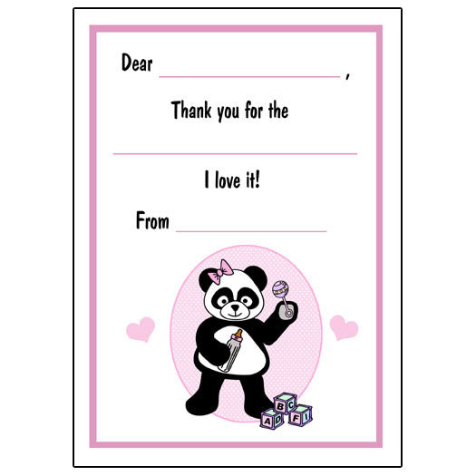 Baby Panda Fill in the Blank Thank You Notes - Girl