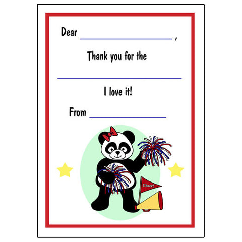 Cheerleader Panda Fill in the Blank Thank You Notes