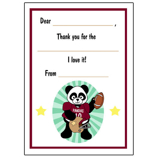Football Panda Fill in the Blank Thank You Notes