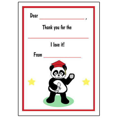 Graduation Panda Fill in the Blank Thank You Notes