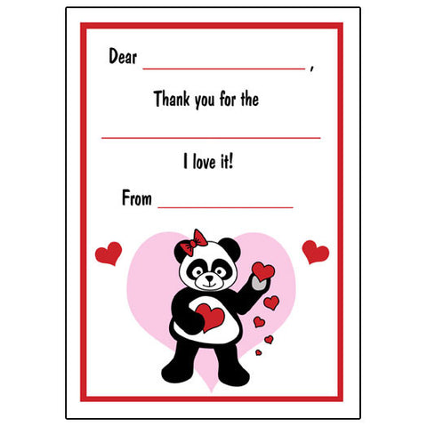 Love Panda Valentines Fill in the Blank Thank You Notes