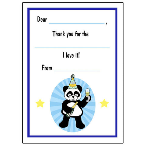 New Year Party Panda Fill in the Blank Thank You Notes