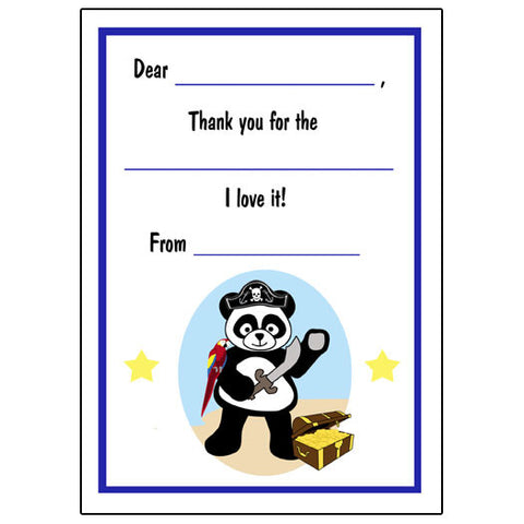 Pirate Panda Fill in the Blank Thank You Notes