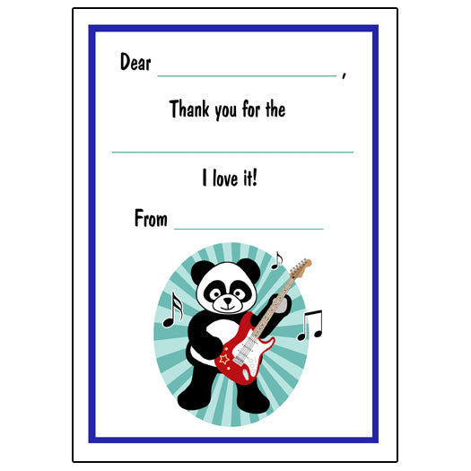 Rockin' Panda Fill in the Blank Thank You Notes - Boy