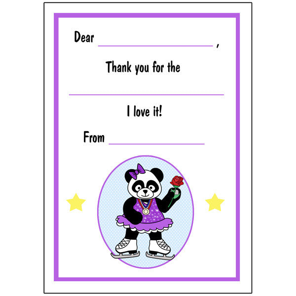 Ice Skating Panda Fill in the Blank Thank You Notes