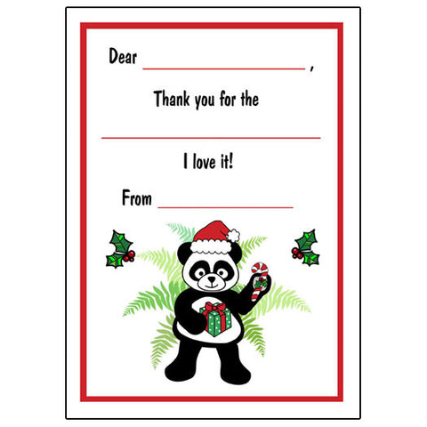 Santa Panda Fill in the Blank Thank You Notes