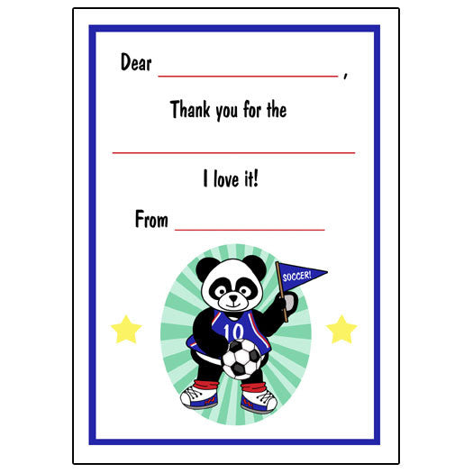 Soccer Panda Fill in the Blank Thank You Notes - Boy
