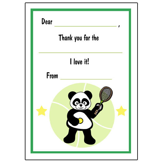 Tennis Panda Fill in the Blank Thank You Notes - Boy