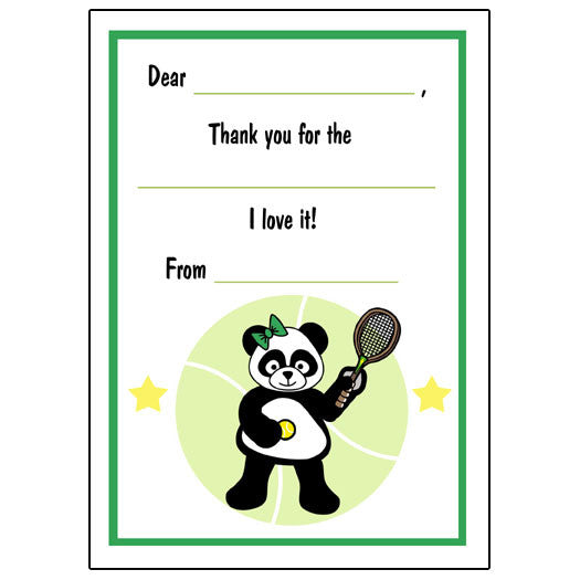 Tennis Panda Fill in the Blank Thank You Notes-Girl