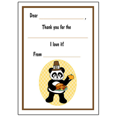 Thanksgiving Panda Fill in the Blank Thank You Notes