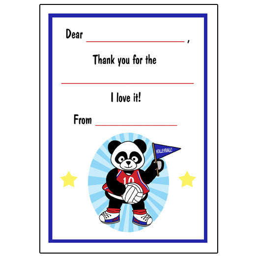 Volleyball Panda Fill in the Blank Thank You Notes-Boy