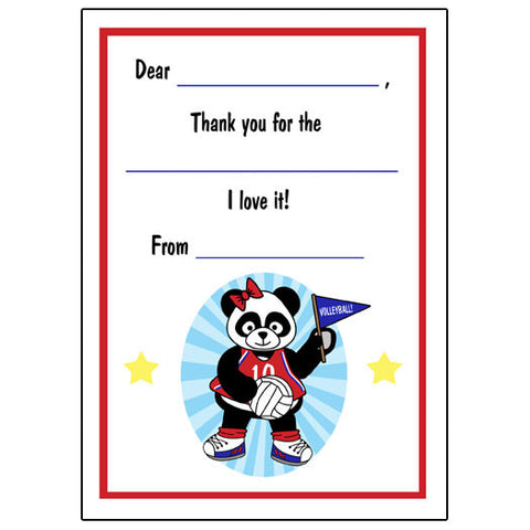 Volleyball Panda Fill in the Blank Thank You Notes-Girl