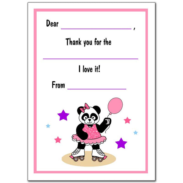 Roller Skating Panda Girl Fill In the Blank Thank You Notes