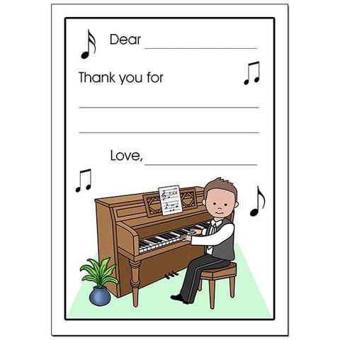 Piano Recital Boy Fill in the Blank Thank You Notes