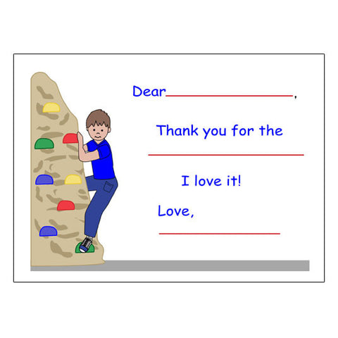 Rock Climbing Fill in the Blank Thank You Notes - Boy