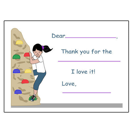 Rock Climbing Fill in the Blank Thank You Notes - Girl