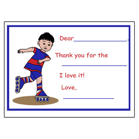 Roller Skating Fill in the Blank Thank You Notes - Boy