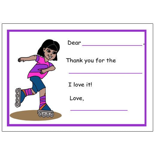 Roller Skating Fill in the Blank Thank You Notes - Girl