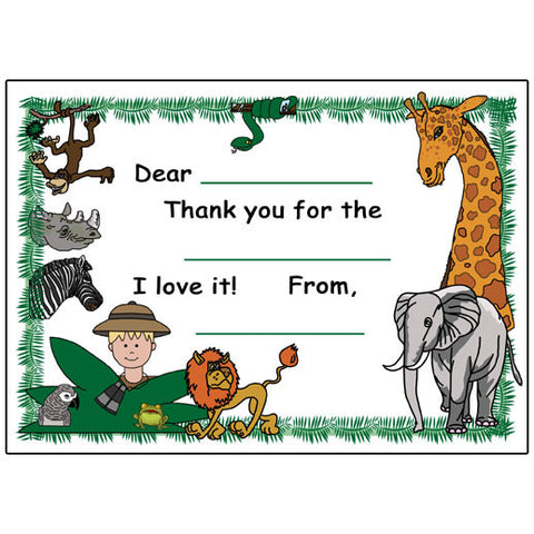 Jungle or Safari Party Fill in the Blank Thank You Notes - Boy