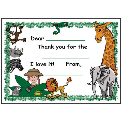 Jungle or Safari Party Fill in the Blank Thank You Notes - Girl