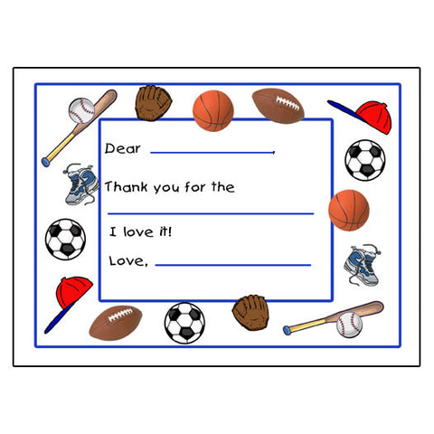 Fill in the Blank Thank You Notes - Sports Ball design