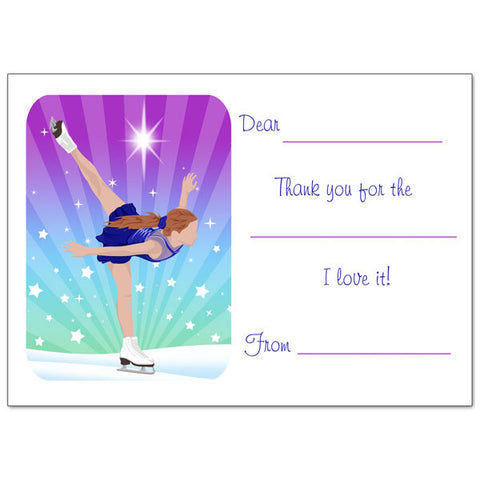 Ice Skating Dreams Fill in the Blank Thank You Notes