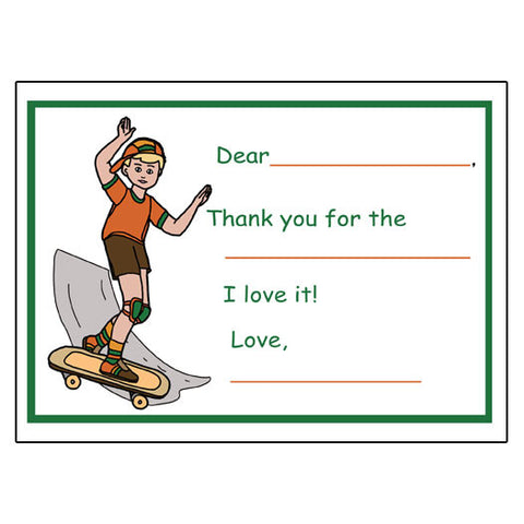 Skateboard Fill in the Blank Thank You Notes - Boy