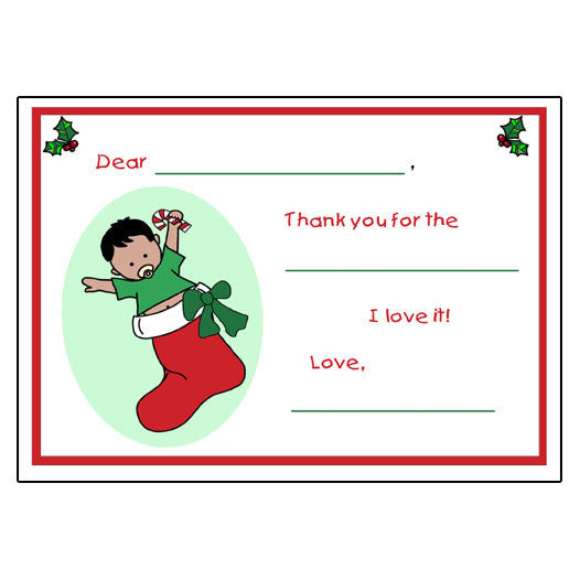 Stocking Baby Christmas Fill In the Blank Thank You Notes - Boy