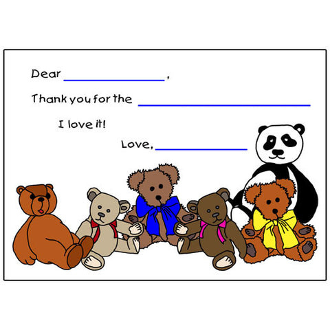 Fill in the Blank Thank You Cards - Teddy Bear Design