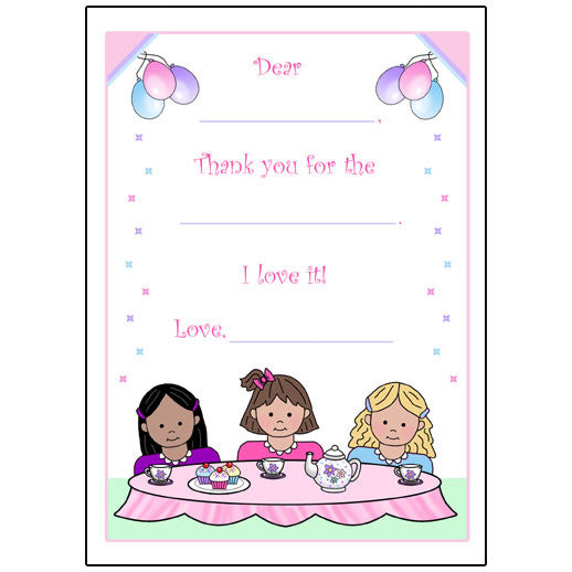 Tea Party Fill in the Blank Thank You Note Cards