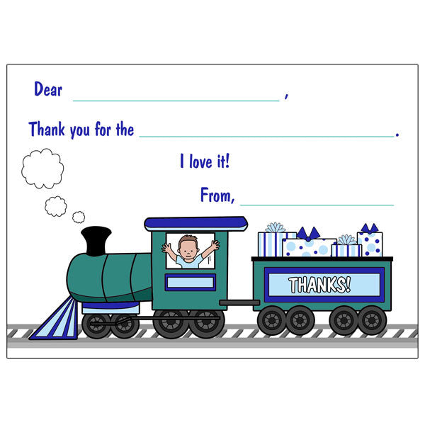 Train Fill in the Blank Thank You Notes - Boy