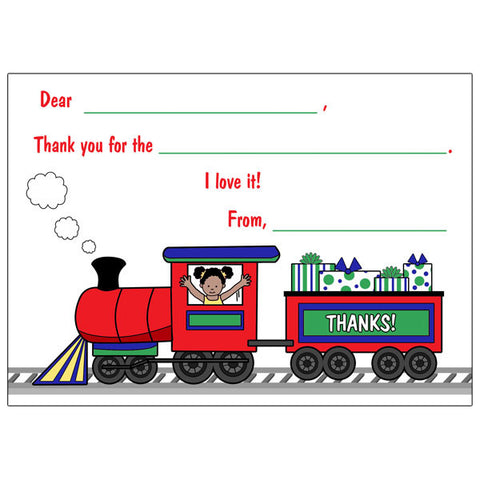 Train Fill in the Blank Thank You Notes - Girl