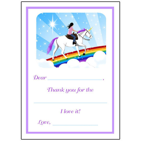 Unicorn Dreams Fill in the Blank Thank You Notes