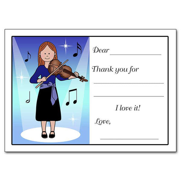 Violin Recital Girl Fill in the Blank Thank You Notes