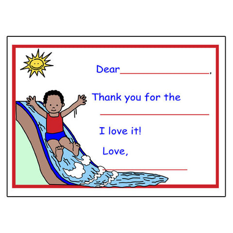 Water Slide Fill in the Blank Thank You Notes - Boy