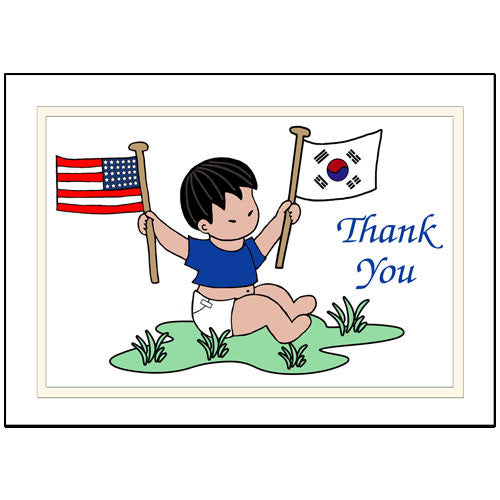 Flag Baby Adoption Thank You Note Cards - Boy