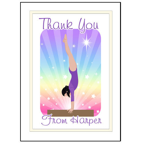 Gymnastics Dreams Thank You Note Cards - Beam Design