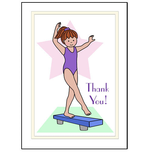 Gymnastics Thank You Note Cards - Beam Design